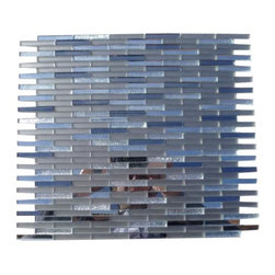 """GlassTileStore - Metallic Styx Starry Night Glass Tile - Metallic Styx Starry Night Glass Tile             Mirrors add light, shine, and sparkle. It also adds the illusion of space. These versatile tiles help create an elegant, custom look for any decor. You can also add an artistic and dramatic flair to the room. The mesh backing not only simplifies installation, it also allows the tiles to be separated which adds to their design flexibility. Please note this tile is not recommended to install in a pool or shower. Mirror glass mosaics are not resistant to alkali and water.          Chip Size: 1/4"""" x 2""""   Color: Shades of Gray and Metallic Silver   Material: Mirror and Glass   Finish: Polished and Frosted   Sold by the Sheet- each sheet measures 12 3/4""""x12"""" (1.06sq. ft.)   Thickness: 4 mm   Please note each lot will vary from the next.            - Glass Tile -"""