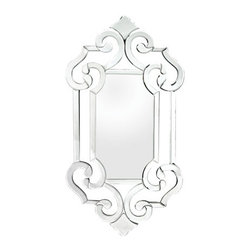 Sterling Industries - Sterling Industries 114-52 Glass Scroll Mirrors in Clear - A Modern Interpretation Of The Venetian Mirror, Each Piece Of Mirror Is Cut And Bevelled By Hand, Lines Are Simplified And Scroll Work Is Enlarged And Extended. This Piece Is Free Of Hand Cut Embellishments Giving It A Clean And Modern Feel, While Still Making A Statement.