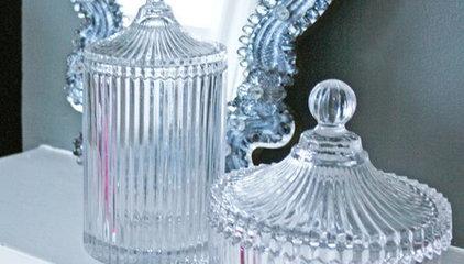 Glass Ribbed Dressing Table Jars - View All Bathroom - Bathroom
