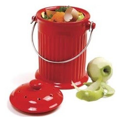 Red Ceramic Compost Bin - Don't let those fruit and vegetable scraps go to waste — throw them in a compost bin. I love the bright, cheery color of this one.