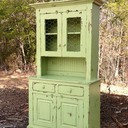 Custom Farmhouse Furniture - The Waldo buffet and hutch measures 42 x 20 x 72h and in finished in Sea with Summer distressing. Custom options are available.