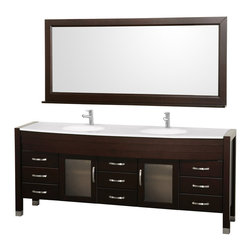 Wyndham Collection - 77.88 in. Double Sink Bathroom Vanity Set - Includes two sinks, white man-made stone top, matching mirror, drain and P-traps for easy assembly. Faucets not included. White integral sinks. Unique and striking contemporary design. Two doors and nine drawers. Fully extending side-mount drawer slides. Deep doweled drawers. Doors with fully framed glass inserts and back paneling. Soft-close concealed door hinges. Single-hole faucet mount. Metal hardware with brushed chrome finish. Plenty of storage space. Brushed steel leg accents. Practical floor-standing design. Twelve-stage wood preparation, sanding, painting and finishing process. Highly water-resistant low V.O.C. sealed finish. Pre-drilled for single-hole faucet. Top thickness: 0.75 in.. Warranty: Two years limited. Made from environmentally friendly, zero emissions solid oak hardwood. Espresso finish. Minimal assembly required. Door: 14.75 in. W x 18.25 in. H. Drawer: 14.75 in. W x 6 in. H. Mirror shelf: 5 in. deep. Mirror: 70.75 in. W x 32 in. H (65 lbs.). Vanity: 77.88 in. W x 21.63 in. D x 33.5 in. H (226 lbs.). Handling Instructions. Installation Instructions - Vanity