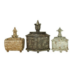 Sterling Industries - Sterling Industries Finial Keepsake Boxes X-0441-39 - From the Finial Keepsake Collection, this set of Sterling Industries decorative boxes are designed to be used together or separated as needed. Each box comes in a different shape, size and color. Unique finials add to the design of each box, while distressing creates a vintage appeal.