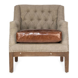Leather & Linen Arm Chair - Our unique looking chair brings you an old world mish mash of styles and charm. Leather, linen and wood are brought together in an incredibly charming arm chair for your favorite living space. Perfect for the bedroom, sitting room or living room. Adorn the area around it with old World maps, locomotive bookends, steam trunk coffee tables and more.
