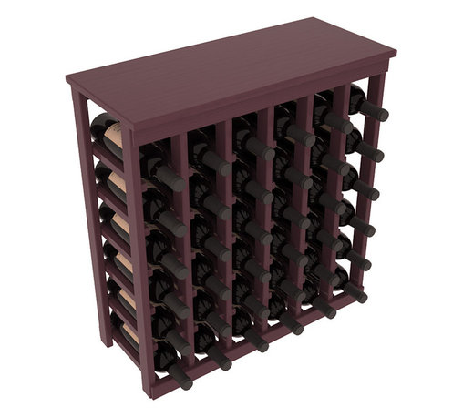 Wine Racks America - 36 Bottle Kitchen Wine Rack in Ponderosa Pine, Burgundy Stain + Satin Finish - A small wine rack with big storage. This wine rack kit is the best choice for converting tiny spaces into big wine storage. The solid wood top excels as a table for wine accessories, small plants, and wine collectables. Store 3 cases of wine properly in a space smaller than most entry tables!