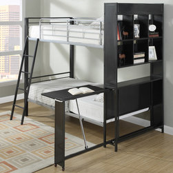 "Coaster - Multifunctional Bunk Bed, Gunmetal/Silver - Fun with function, this unique twin-over-twin size multi-functional loft bed creates a fun and usable space in your youth bedroom. This piece will allow your child to study in the comfort of his or her own bedroom! Clean lines, sturdy metal straight rails, and a ladder make this bed safe and easy to use. A bookshelf headboard creates a cool space and features a table surface which rolls out ideal for homework, play, and snacks.; Contemporary Style; Finish/Color: Gunmetal/Silver; Bunkie Board Not Required; Dimensions: 86.25""L x 56.75""W x 74""H"