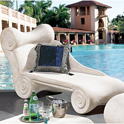 Design Toscano - Hadrian's Villa Roman Spa Furniture Collection - Chaise Longue - NE90022 - Shop for Chaise Lounges from Hayneedle.com! Inspired by the Roman architectural designs the Hadrian s Villa Roman Spa Furniture Collection - Chaise Longue is the perfect way to add a classic touch to any pool patio or spa. This chaise is crafted from quality resin and given a realistic stone finish. Ideal for bathrooms spas poolside or Jacuzzi areas.About Design Toscano: Design Toscano is the country's premier source for statues and other historical and antique replicas which are available through our catalog and website. We were named in Inc. magazine's list of the 500 fastest growing privately-held companies for three consecutive years - an honor unprecedented among catalogers. Our founders Michael and Marilyn Stupak created Design Toscano in 1990. While on a trip to Paris the Stopkas first saw the marvelous carvings of gargoyles and water spouts at the Notre Dame Cathedral. Inspired by the beauty and mystery of these pieces they decided to introduce the world of medieval gargoyles to America in 1993. On a later trip to Albi France the Stopkas had the pleasure of being exposed to the world of Jacquard tapestries that they added quickly to the growing catalog. Since then our product line has grown to include Egyptian Medieval and other period pieces that are now among the current favorites of Design Toscano customers along with an extensive collection of garden fountains statuary authentic canvas replicas of oil painting masterpieces and other antique art reproductions. At Design Toscano we pride ourselves on attention to detail by traveling directly to the source for all historical replicas. Over 90% of our catalog offerings are exclusive to the Design Toscano brand allowing us to present unusual decorative items unavailable elsewhere. Our attention to detail extends throughout the company especially in the areas of customer service and shipping.