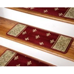 """Dean Flooring Company - Premium Carpet Stair Treads - Regal Red - 13 Pack Size 26"""" x 9"""" - Premium Carpet Stair Treads - Regal Red - 13 Pack Size 26"""" x 9"""" : Beautiful Plush Premium Carpet Stair Treads by Dean Flooring Company Luxurious and Resilient Texture High Fashion Design Densely Woven Construction 100% Polypropylene Pile Uncommon Softness and Durability Stylish Enough to Compliment the Finest Decors Color: Red Approximately 25.5 inches by 9 inches Set Includes 13 Pieces Each tread is machine serged with color matching yarn Prevents slips on your hardwood stairs (treads must be securely attached to your stairs). Provides warmth and comfort Extends the life of your hardwood stairs Great for pets (facilitates navigation of slippery stairs) Matching runners and rugs available. Easy do-it-yourself installation with Doubles sided carpet tape (Not included-sold separately) Add a touch of warmth and style to your stairs today!"""