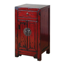 Uttermost - Matthew Williams Harkin Red Accent Box - Brilliant, vermillion red cabinet with traditional Chinese hardware and antique style construction in a heavily distressed, high-gloss finish.
