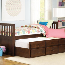 Homelegance - Homelegance Zachary Twin/Twin Trundle Bed - Fall Sale - Best On Line Price! Captain's bed with a pull-out trundle for additional sleeping space in an espresso finish. Zachary Collection is constructed of solid New Zealand pine and other hardwood solids. Trundle with 3 working drawers. Indeed  it's shipped directly to you at the lowest  Best Deal price.