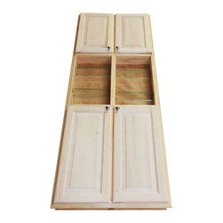 """WG Wood Products - 78"""" Recessed Dual Mount Belmont Pantry Storage Cabinet With Open Shelf - Recess in the wall between studs or surface mount on the wall - your choice!  Easy installation either way.  Recess in the wall using only construction adhesive, or mount on the wall using the built in cleats inside.  Fourteen fully adjustable glass shelves.   Concealed hinges, doors are left undrilled so you can mount the knobs wherever you want.  Measures 79.5h x 29.5w x 5"""" overall depth (3.5"""" can recess into the wall if mounting that way).   Natural pine finish can be painted or stained.  Solid maple doors. Proudly made in the USA.  Requires an opening in your wall of 28 1/8w x 78 1/8h if recessing the cabinet.  Framing in the wall around the opening is not necessary.   This model has only four doors, with the center section being an open shelving unit.   If mounting on the wall, screws must go into studs or wall anchors are necessary and are included.  Actual useable depth inside the cabinets is 4.25""""."""