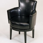 Armen Living - Swivel Club Chair in Black Leather - 360 degree swivel, all leather club chair, with Pirelli webbing, thick padding and California Fire Retardant rated.
