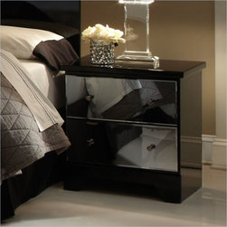Standard Furniture Parisian 2 Drawer Nightstand in Black - Low profile Spread Headboard with smoked mirror panels over the bed and above the flanking night stands.