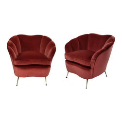 ecofirstart - A Pair Of Ico Parisi Armchairs - Italy 1950's A pair of large Italian armchairs by Ico Parisi of Milan. Of sculptural form with scallop backs. Newly upholstered in damson velvet, which is identical to the original. Ico Parisi was one of the influential designers who shaped the look of the 1950s. The Sicilian-born architect considered himself a Renaissance man, and he was prolific as a filmmaker and designer of furniture, glass, and jewelry. Alone or in collaboration with his wife, Luisa, a student of Gio Ponti, Parisi worked to create desks, chairs, and upholstered sofas in wood and metal for high-end clients. In pieces like his 1955 lounge chair, with its crimson or lime green upholstery and curvaceous wooden frame, Parisi��_��s work epitomizes the funky, modernist style of the early atomic age. Price is for the pair