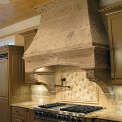 Rustic Pinon Kitchen Hood - This pinon kitchen hood adds elegance and warmth to the heart of the home, the kitchen. This range hood can be ordered in other natural limestone, cantera, pinon, and adoquin stones. Each kitchen hood is hand carved and fabricated to fit our client's dimensions. We can work with you to design decorative carving on the hood to fit your style.