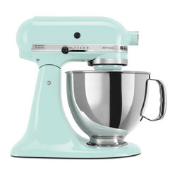 KitchenAid - KitchenAid KSM150PSIC 5 Qt. Artisan Series Stand Mixer - Ice Multicolor - KSM150 - Shop for Stand from Hayneedle.com! Get powerful help in the kitchen with the KitchenAid KSM150PSIC 5 Qt. Artisan Series Stand Mixer - Ice. This lovely mixer finished in ice blue packs enough power to mix up to nine cups of flour and its planetary mixing action ensures that all ingredients are thoroughly blended. Additional Features: 14.13L x 8.75W x 14H inches Tilt head for easy bowl access Powerful direct-drive transmission Attachment hub with hinged cover Planetary mixing action About KitchenAidFor over 80 years KitchenAid has been devoted to creating innovative cookware that inspires culinary excellence. From the original Stand Mixer first created in Troy Ohio this industry leader now offers a wide assortment of cookware bakeware kitchen accessories and appliances. All products are designed with your cooking needs in mind and are engineered to exceed the highest manufacturing standards. Since 1919 KitchenAid has been synonymous with quality and value. As a result all KitchenAid products are backed by exceptional industry-leading warranties. Check out the complete line today.