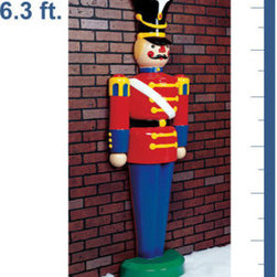 Additional images   6.3 ft. - Half Toy Soldier - Life Size - Fiberglass - Chris - Like a character in the Nutcracker, this life-sized half toy soldier will stand as a sentinel at your home or office this holiday season. With crisp, bright colors, this unique decoration is ideal to stand against a wall or at an entryway. The 6 foot, 3 inch figure is made of fade and chip resistant fiberglass, ensuring a long life. It is suitable for indoor or outdoor use and with proper storage, will last for generations to come. Let this traditional ornament grace your entryway this holiday season.
