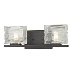 Z-Lite - Z-Lite Jaol 2 Light Vanity Light X-V2-6203 - Rectangular glass shades with horizontal textured lines soften the bright light of the Jaol vanity family. The flat arm design exudes a contemporary design finished in finely brushed nickel, rich bronze and highly polished chrome.