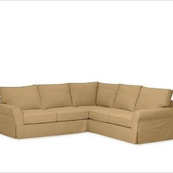 """PB Comfort Roll-Arm 3-Piece L Shaped Sectional Slipcovers, Twill Caramel - Designed exclusively for our PB Comfort Sectional, these soft, inviting slipcovers retain their smooth fit and remove easily for cleaning. Left 3-Piece Sectional with Box Cushions shown. Select """"Living Room"""" in our {{link path='http://potterybarn.icovia.com/icovia.aspx' class='popup' width='900' height='700'}}Room Planner{{/link}} to select a configuration that's ideal for your space. This item can also be customized with your choice of over {{link path='pages/popups/fab_leather_popup.html' class='popup' width='720' height='800'}}80 custom fabrics and colors{{/link}}. For details and pricing on custom fabrics, please call us at 1.800.840.3658 or click Live Help. All slipcover fabrics are hand selected for softness, quality and durability. Left-arm configuration is shown; also available in right-arm configuration. {{link path='pages/popups/sectionalsheet.html' class='popup' width='720' height='800'}}Left-arm or right-arm configuration{{/link}} is determined by the location of the arm on the love seat as you face the piece. This is a special-order item and ships directly from the manufacturer. To see fabrics available for Quick Ship and to view our order and return policy, click on the Shipping Info tab above. Watch a video about our exclusive {{link path='/stylehouse/videos/videos/pbq_v36_rel.html?cm_sp=Video_PIP-_-PBQUALITY-_-SUTTER_STREET' class='popup' width='950' height='300'}}North Carolina Furniture Workshop{{/link}}."""