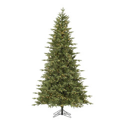 """Vickerman - Fresh Balsam Fir 750CL Dura (7.5' x 54"""") - 7.5' x 54"""" Fresh Balsam Fir, 1376 tips, UL 750 Dura-Lit Clear Light, on/off switch step, in Bmv metal base, 30% PE, 70% PVC, Thickness, Dura-lit Lights utilize microchips in each socket so bulbs stay lit even when some bulbs are broken or missing."""