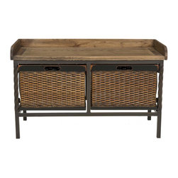 Safavieh - Noah Wooden Storage Bench - Antique Pewter/Light Ash - Exuding the strength and wisdom of an old friend, the Noah Wooden Storage Bench is a welcome sight at the end of the day. The elm wood seat with warm ash finish is the perfect place to remove snow-covered boots, and its two oversized wicker-style baskets tucked inside an antique pewter frame offer a discreet yet ambient storage solution.