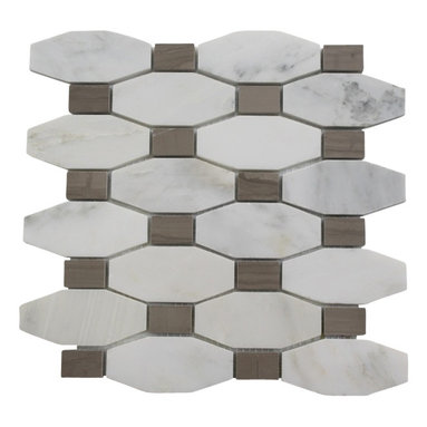 """Octave Pattern Asian Statuary With Athens Gray Dot - STELLA PATTERN ASIAN STATUARY WITH ATHENS GRAY DOT TILES 3/5"""" X 1.5"""" DOT: 1 1/5"""" X 3/4"""" These hand-made window patterns are made from stone mosaics, each piece fits into the next like a perfect puzzle. Its stunning design and unique pattern of rectangle and oblong octagons will bring warmth and a natural ambience to your home. The mesh backing not only simplifies installation, it also allows the tiles to be separated which adds to their design flexibility. Chip Size: 3/5"""" x 1.5"""" Dot: 1 1/5"""" x 3/4"""" Color: Asian Statuary with Athens Gray Dot Material: Asian Statuary and Athens Gray Stone Finish: Polish Sold by the Sheet - each sheet measures 10"""" x 10"""" (0.7 sq. ft.); 8 rows per sheet Thickness: 3/8"""""""