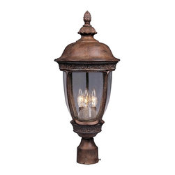 Maxim Lighting - Maxim Knob Hill DC Outdoor Post Lantern - 28H in. Sienna - 3461CDSE - Shop for Posts from Hayneedle.com! The Maxim Knob Hill DC Outdoor Post Lantern features a decorative finial and carved leaf-and-vine details for a touch of old-fashioned charm. This elegant fixture is designed for use with a post or pier mount (not included) and is constructed of durable cast aluminum finished in a Sienna color. The seedy glass panels emit a bright slightly textured light. Bulbs not included.About Maxim LightingSince 1970 Maxim Group Companies headquartered in California have been committed to providing a diverse selection of high quality lighting fixtures for your home. Maxim products are made with attention to detail and with all the latest advances in lighting technology as well as forward-thinking design policies that fit effortlessly into your life. Maxim's goal is to lead the lighting industry through integrity innovation and client satisfaction.