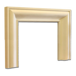 Distinctive Mantel Designs - Frasier Mantel, Sahara, 61 - Simple in design, the Frasier mantel is an elegant, contemporary mantel.  A sweeping, curvilinear inner profile transitions gracefully into the angular outer banding.  The Frasier mantel goes well in any transitional space.