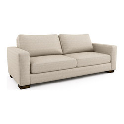 Rio Sofa (Eco-Friendly) - Contemporary style sofa that is made with 100% alder wood, all natural latex and eco wool, and comes in a large variety of natural or recycled fabrics. It's made in Los Angeles, and is natural from the inside out with no use of chemicals or fire retardants.