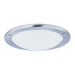 Portal LED-Flush Mount - Efficiency with a contemporary flair features Satin Nickel frames with White glass diffusers, powered by long life 3000K LED lamps for ultimate energy savings. An emergency back-up model makes this collection suitable for multi-family applications.