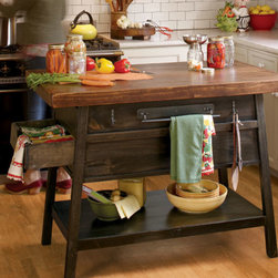 La Mesa Kitchen Island - I love the look of a rustic, French country style kitchen, and this pine kitchen island won my heart. I could see myself cutting a fresh baguette and preparing a meal with organic tomatoes from the garden on this.