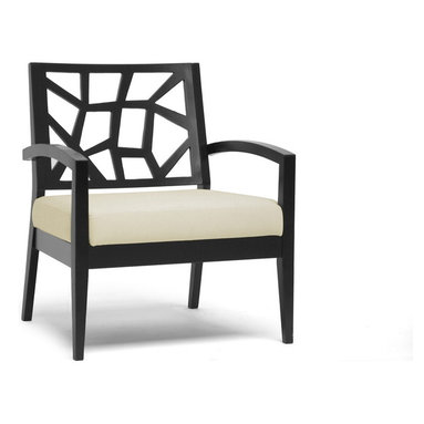 Baxton Studio - Baxton Studio Jennifer Dark Brown and Cream Modern Lounge Chair - Evoking a combination of nature-inspired and Danish modern style, our Jennifer Lounge Chair is the perfect accompaniment to your living room seating area. As far as living room accent chairs go, the Jennifer Designer Chair is priced to sell and built to last: a solid rubber wood frame with black/brown wenge finish make this the perfect choice. Polyurethane foam cushioning topped with cream twill fabric makes this your favorite place to sit and an extra-wide seat provides additional comfort. This Malaysian-crafted chair requires assembly and should be spot cleaned. Arm height: 23.25 inches