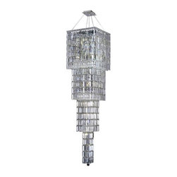 """PWG Lighting / Lighting By Pecaso - Chantal 18-Light 18"""" Crystal Chandelier 1728G66C-EC - The unique design of the Chantal Collection inspires any room setting. Dazzling spectacles of light sparkles throughout the fixture creating a modern, yet timeless beauty and elegance."""