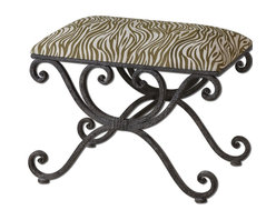 Matthew Williams - Matthew Williams 23089 Aleara Aleara Small Bench - Weathered, wrought iron scrolled bench with soft cushioned top in cream and olive linen-cotton blend.