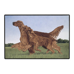 125-Irish Setters Doormat - 100% Polyester face, permanently dye printed & fade resistant, nonskid rubber backing, durable polypropylene web trim on the porch or near your back entrance to the house with indoor and outdoor compatible rugs that stand up to heavy use and weather effects