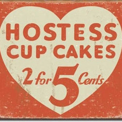 Hostess Cup Cakes Tin Sign - This sweet sign is made to look vintage. Great for showing your love of sweets.