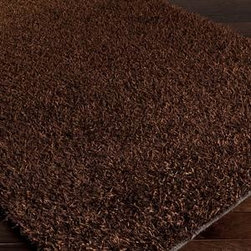 Surya - Surya Taz TAZ-1024 5' x 8' Dark Chocolate Rug - The Taz Collection is a fashionable look in floor coverings. This shag is constructed from 100% polyester with ultra fine shimmering metallic looking stands. Available in 8 colors, this shag is sure to take the spotlight.