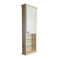 WG Wood Products - Ashley Series 48x3.5-inch Unfinished Wood Wall Cabinet - Four adjustable glass shelves and a shaker style door that rests on concealed hinges,define this charming,Ashley Series On-the-Wall cabinet. The door is left undrilled for a knob or handle so you can mount it to open in either direction.