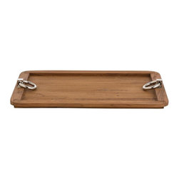 Arteriors - Arteriors Isla Tray - This wooden version of our best selling Bordeaux tray features rounded corners and those same polished nickel metal ring handles. Available Sizes: Small (Image #2) or Large (Image #1)