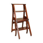 Tuscan Hills - Tuscan Scaletta Step Stool and Folding Chair - Made in Italy from Solid Ashwood, this uniquely designed chair transforms into a step stool with one easy locking mechanism. Perfect for small apartment, condos, or anywhere you need to reach an out of the way space.