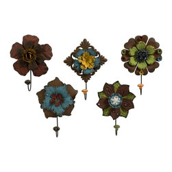 Colorful Floral Wall Hooks - Set of 5 - *Mult-colored metal flowers adorned with rhinestones are a decorative set of wall hooks that add color to any functional space.