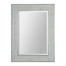Pale Green Ivory Glass Tile Rectangle Mirror w/ Polished Chrome Liners - Pale Green Ivory Glass Tile Rectangle Mirror w/ Polished Chrome Liners