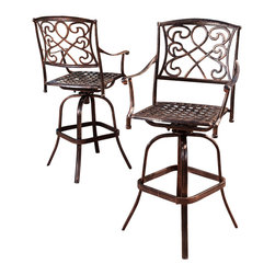 Great Deal Furniture - Paris Copper Finish Cast Aluminum Swivel Bar Stools (Set of 2) - Perfect for breakfast on the patio or for creating an intimate seating area in your garden, the Paris Cast Aluminum Bar Stools makes a wonderful choice. This set lends a dash of elegance to your patio with its elaborate patterned design. Crafted from cast aluminum, this bar height stools set will last for many years to come. A unique, antique copper finish set assembles easily and includes rust-resistant stainless steel hardware. A romantic European look that will enhance your outdoor living space.