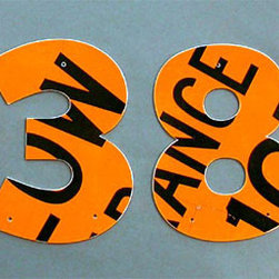 Traffic Sign House Numbers - These house numbers cannot be missed. Aside from the bright colors and reflective nature of old traffic signs, they're simply awesome looking. I love the variety that comes from using old signs and the bright colors that are part of the package.