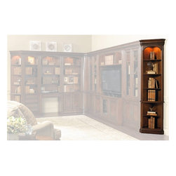 Hooker Furniture - European Renaissance II Wall End Unit - White glove, in-home delivery!  For this item, additional shipping fee will apply.  Includes furniture assembly!  Wall End Unit only. (Shown with European Renaissance II modular wall system.  This is the corner piece that finishes off the end of your wall unit by tapering it into the wall.  Can also be used as a small standalone corner bookcase.)  Cherry and myrtle burl veneers with hardwood solids are an exquisite combination in the European Renaissance executive home office collection.  One adjustable wood-framed glass shelf, three adjustable shelves, one fixed shelf, one light controlled by a three-intensity touch switch.