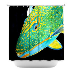 DiaNoche Designs - Shower Curtain Artistic - Deep Sea Life- Parrot Fish - DiaNoche Designs works with artists from around the world to bring unique, artistic products to decorate all aspects of your home.  Our designer Shower Curtains will be the talk of every guest to visit your bathroom!  Our Shower Curtains have Sewn reinforced holes for curtain rings, Shower Curtain Rings Not Included.  Dye Sublimation printing adheres the ink to the material for long life and durability. Machine Wash upon arrival for maximum softness on cold and dry low.  Printed in USA.