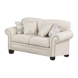 Adarn Inc - Norah Traditional Antique Inspired Detail Loveseat w/ Accent Pillow - Create a distinctive look in your living room with this elegant French laundry inspired loveseat. The light linen upholstery look tailored with tight scolloped back cushions and rolled arms. Classic nail head trim adds a touch of shine. Four accent pillows are included, with butterfly and French script printed fabric, for bringing together modern and antique styles.