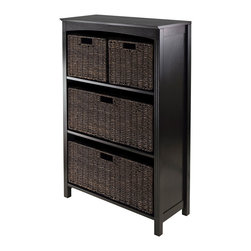 Winsomewood - 5-Piece Storage 4-Tier Shelf with Large & 2 Small Baskets - Dimensions: 25.98W in. -11.81D in. -42.99H in.