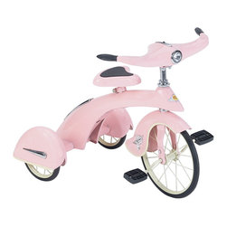 "Pink Princess Sky King Tricycle - This Beautiful 1930'S Style Tricycle Is Built To Last For Generations. With The Original Sky King Tricycles Currently Selling For Over $1500, This Great Looking Tricycle Is Now Affordable For The Whole Family. Made Of High Quality Steel And Identical In Every Way To The Sky Kings Of Old.   Features:  *Chrome Accents  *Solid Rubber Tires *Adjustable Spring Seat  *Working Headlight Light  *Reflectors *Sealed Ball Bearings *Rubber Handle Grips With Tassels  *All Steel Construction  *Child Safety Approved  /  3-5 Years Old *Lead Free Powder Coat Paint *Minimal Assembly Required (Approx. 10 Min.) *Dimensions: 27"" High  -  20"" Wide  -  33"" Long *Minimum To Maximum Distance From Seat To Extended Pedal Is 18"" To 21"" *Shipped Insured *Brand New!"