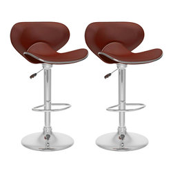 Sonax - Sonax CorLiving Curved Form Fitting Adjustable Bar Stool in Brown Leatherette (S - Sonax - Bar Stools - B532VPD - Add spice to any bar or kitchen island with a pair of barstools featuring the uniquely formed foam padded �swan styled� 2 piece seat finished in Soft Brown leatherette accented with a chrome base and footrest. Loaded with visible features like the easy wipe clean leatherette and chrome trim piping. Easily adjusts to variable bar heights. A great addition to any home!